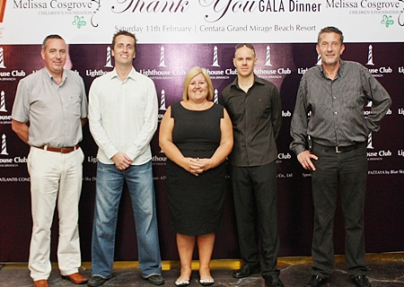 (L to R) Paulo De Matos, executive assistant manager for rooms of Centara Grand Mirage Beach Resort Pattaya welcomes everyone to the Mirage Ballroom, joined by the LHC committee, Stuart Maxwell Foulkes, Tracy Cosgrove, Neo Lothongkum and Cees Cuijpers.
