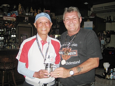 Kenny Chung (left) receives the Monthly Mug from Bjarne.