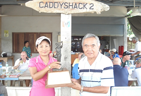 Monthly winner Jan Thorn (left with trophy) and Wednesday runner-up Rod Ishii.