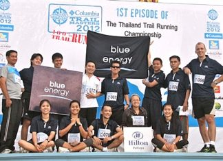 "The team members of Hilton Pattaya led by Harald Feurstein, General Manager (far right, standing row) recently completed the ""Columbia Trail Masters 2012"", the first Thailand trail running championship at Khao Mai Kheow, Pattaya. The Hilton Pattaya team also won the 3rd and 2nd runner-up trophies for the marathon discipline. The winners were Chonticha Satprasit, Assistant Spa Manager (1st from right, sitting row) and Phungporn Wingpad, Kid's Club Attendant (1st from left, sitting row). Congratulations to the medal winners and all who took part."