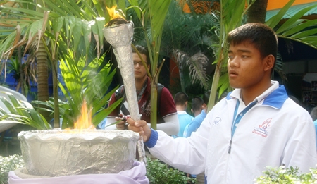 The flame of the Games is lit to start the competition.