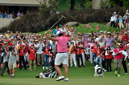 Yani Tseng celebrates after holing a putt to win the Honda LPGA Thailand 2012 at Siam Country Club.