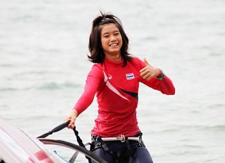 Sirirporn Kaewduang-Ngam won the female youth RSX category at the 2012 Pattaya City Asian Windsurfing Championships.