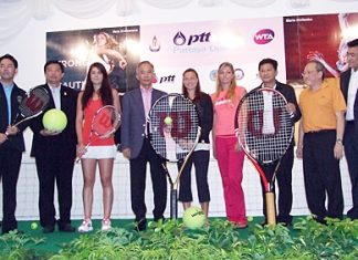 Tennis stars, sponsors and dignitaries attend the press conference for the 2012 PTT Pattaya Open held at the Dusit Thani Pattaya, Sunday, Feb. 5.