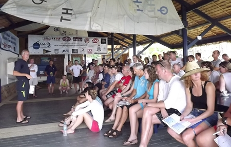 Sailors get their briefing from the race officer.