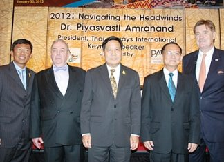 (L to R) Pandit Chanapai, THAI commercial executive vice president; Bert Van Walbeek, PATA Thailand Chapter; Piyasvasti Amranand, THAI president; Suraphon Svestasreni, governor of the Tourism Authority of Thailand; and Martin Craigs, PATA CEO.