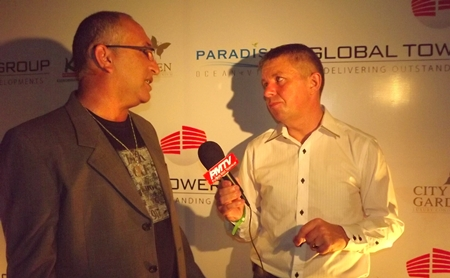 Yigal Yonah Heli, owner of Paradise Ocean View Pattaya, is interviewed for PMTV by presenter Paul Strachan.