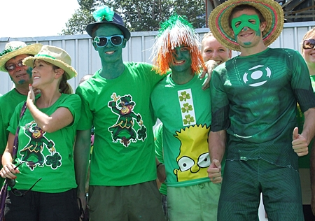 Irish eyes are smiling on these colorful lads and lassies.