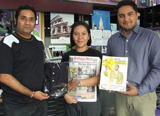 Vikrom Malhotra (left), Manager of Massic Travel and Prince Malhotra, GM of Pattaya Mail welcome Pinpetch Yospatarapong, Account Manager of Etihad Airways on her recent visit to Massic Travel, the Eastern Seaboard's Friendliest Travel Agents.