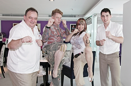 American martial arts artist and Hollywood movie actress Cynthia Rothrock (2nd right) 'gets a kick out of' the delicious pastries at the Afternoon Tea Café located at the 5 star Amari Nova Suites Pattaya. Michael Procher (left) the GM, Mark Gerry (2nd left) and Sascha Kunze (right) must have had a few themselves.