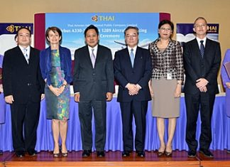 (L to R) Raj Tanta-Nanta, THAI vice president in charge of the Corporate Finance Department; Monique Vialatou, chief executive officer of BNP Paribas Thailand; Piyasvasti Amranand, THAI president; Fumiaki Kurahara, director and general manager in charge of the Sumitomo Mitsui Banking Corporation's Structure Finance Department; Wasukarn Visansawatdi, THAI executive vice president of finance & accounting, and Keiichi Suzuki, general manager of the Corporate Finance Department, Division 4, of the Development Bank of Japan.