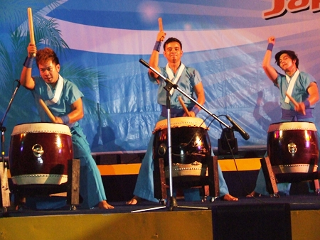 Performers give a rousing rendition on Japanese war drums.