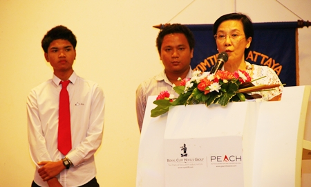 Radchada Chomjinda (Toy) from the Pattaya Orphanage introduces the two boys who are supported by the Rotary Club in the R.O.S.E. (Rotary Orphan Student Exchange) program.