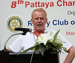 President Gudmund Eiksund makes his report to the swimmers and guests, before declaring the commencement of Rotary Charity Cross Bay Swim 2012.