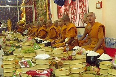 Young monks at Wat Dhamsamakhee, South Pattaya prepare to perform their solemn ceremony.