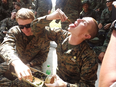 Troops learn to identify edible insects to survive in the jungle.