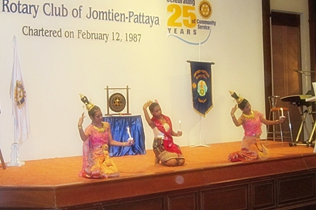 The children perform their dance routines at the Rotary Jomtien Pattaya 25 year celebrations at the Royal Cliff Hotel.