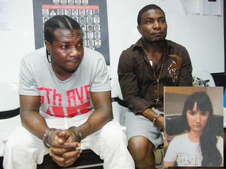 """Faces of the ubiquitous """"Nigerian"""" email scam: (L to R) Pual Michael, Biodun Agbajeola and Yulia Maksimova (inset)."""