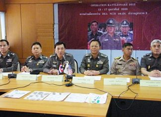 Police brass hold a press conference to announce the early success of Operation Rattlesnake 2012.