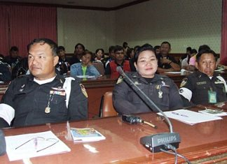 Police listen intently to NIB officials' talks on terrorism-prevention training.