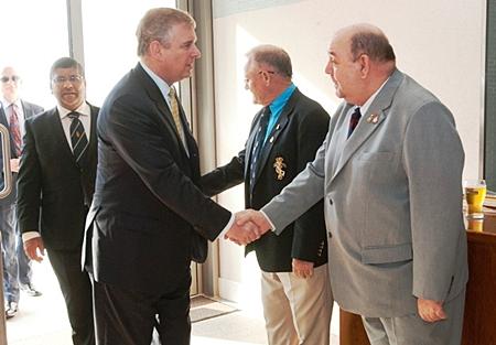 Secretary Bert Elson welcomes Prince Andrew.