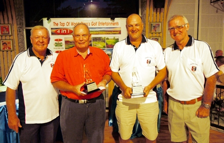 Charity Classic winners, Bob Linborg (2nd left) and Neil Lavery (3rd left) with PSC Golf Chairman Joe Mooneyham (left) and PSC President Tony Oakes (right).