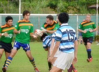 The Pattaya Panthers in action at the Oakwood International Rugby 10's tournament in Bangkok.