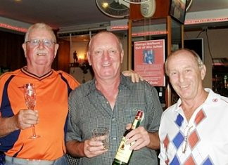Medal winners Mike and Bob with Colin the Golf Manager.