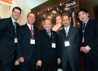 Chanin Donavanik (2nd right), Managing Director and CEO of Dusit International led his team of top executives (l-r) Simon Burgess, AVP-Global Sales; Peter Komposch, GM of Dusit Thani Laguna Phuket; Chatchawal Supachayanont, GM of Dusit Thani Pattaya; and Victor Sukseree, GM Dusit Thani Hua Hin to attend the 46th ITB Berlin Convention held from March 7-11, 2012. They were amongst the more than 10,644 trade visitors and exhibitors from 187 countries. The Dusit International booth was graced by the royal visit of HRH Princess Ubolratana in a show of support to the Thai hospitality brand and other Thai participants in the world's largest tourism convention.