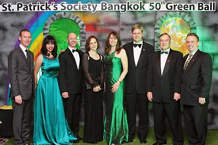 Shane Stephens (3rd right), Deputy Head of Mission, Embassy of Ireland and Steven Chandler (3rd left) Deputy Head of Mission, British Embassy recently were the guests of honour at the St. Patrick's Society Bangkok 50th Anniversary Green Ball held at the Amari Watergate Bangkok. The event, attended by more than 300 guests, was organized by the St. Patrick's Society Bangkok headed by President Gail Wright (4th right). Other guests included Tristan de La Porte du Theil, Nadia Hadi, Maeve Stephens, Gerry Wright and Pierre-Andre Pelletier, the hotel's General Manager.