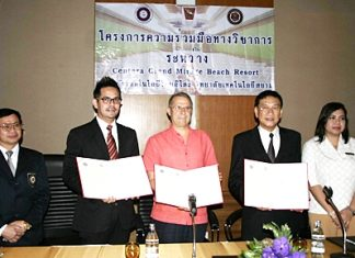 Siam Technology College, Thai-ITOH College and Centara Grand Mirage Beach Resort Pattaya recently signed an MOU to assist each other to increase levels of education for Hotel and Tourism majors to international standards. Holding the MOU are (L to R) Chitsanupon Sirichotinisakorn, Siam Technology College's dean of Hotel and Tourism; Andre Brulhart, general manager of Centara Grand Mirage Beach Resort Pattaya; and Sunan Prasertsom, licensee of Thai-ITOH College. For more information, contact 038-416030-1, 0863053131 or www.thai-itoh.ac.th