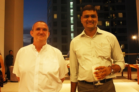 (L to R) Jonathan Gibbons, sales manager of Waterfront - Suites & Residences, Pattaya; and Shreyash Shah, deputy director of sales for Royal Cliff Hotels Group & Pattaya Exhibition and Convention Hall.