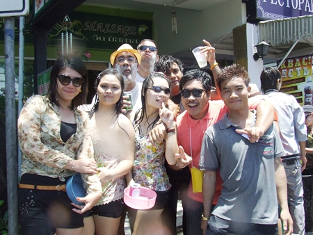 The crew in front of Pattaya Mail were certainly having fun during Wan Lai Pattaya.