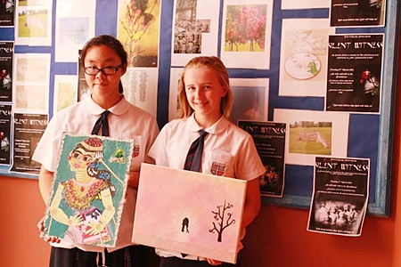 Yana and Mackenzie's Lidice International Art Competition pieces.