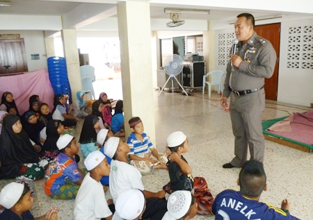 Banglamung Police Deputy Superintendent Lt. Col. Suphachat Piemmanas talks to the southern youngsters about Thai law.