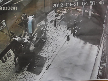 Security footage showing a Caucasian male allegedly stealing a motorcycle.
