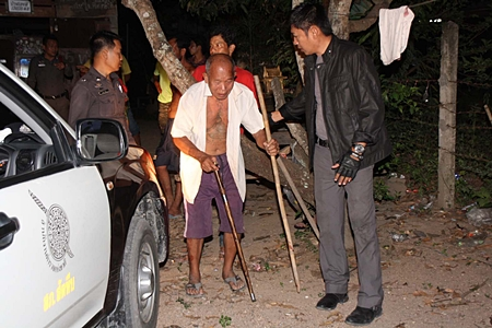 Somsak Sirisuwan was taken to the station, but later released, after it was learned he hit his drunken wife only to protect his grandson.