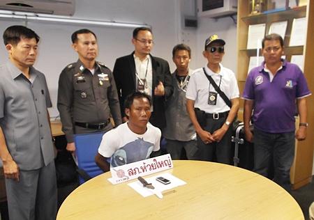 The steely gaze of a murderer - Thongthong Munkhong has been arrested for the cold blooded murder of a fellow Burmese man.