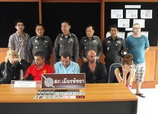 Four Bulgarians and a German have been arrested for allegedly stealing 20 million baht from Siam Commercial Bank ATMs with counterfeit electronic cards.