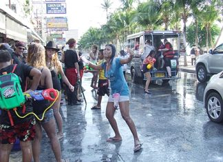 """National Songkran began on April 13; Pattaya's official """"Wan Lai"""" was yesterday, April 19. But with the water mayhem in Pattaya beginning as early as April 9 this year, it's been 10 days since people here who need to travel by public transportation have been able to arrive at their destination dry."""