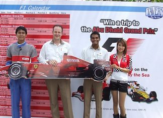 Left-right: Mangkorn Ruchansa Amari's staff, Max Sieracki, resident manager, Sundeep Nellore, operations manager and Chancharus Trisoon, Amari's staff, announce the prize trip to watch the 2012 Abu Dhabi Grand Prix at the end of the year.