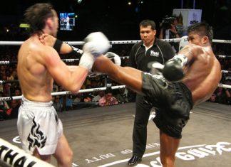 Buakaw Por. Pramuk, right, lands a high kick on Russia's Zaripow Zaripow Rastem during their 70kg contest.