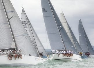 Lots of startline action on Day 1 of 2012 Top of the Gulf Regatta. Photo Guy Nowell/ Top of the Gulf Regatta.