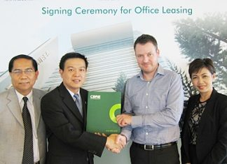CBRE Thailand successfully located the office of Carlsberg Indochina and Carlsberg Thailand at Park Ventures Ecoplex, an eco-friendly Grade A office space in Bangkok's CBD. Pictured in the photo are Jacob Vigso Hermansen, 2nd from right, General Manager of Carlsberg Thailand being presented with an office leasing agreement by Thanapol Sirithanachai, 2nd from left, Managing Director of Univentures Plc., Nithipat Tongpun, left, Executive Director, and Maneerat Vichitrattana, right, Director of CBRE Thailand, the sole leasing agent.