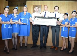 Harald Feurstein (4th right), GM of the Hilton Hotel Pattaya, officially re-launched the popular 'Dine And Fly with Hilton Pattaya' incentive. For every 3,000 baht spent at the hotel's many food outlets such as the Edge, Flare, Shore, Drift and Horizon, including the Eforia Spa, visitors have a chance of winning many valuable prizes including airplane tickets and hotel accommodations.