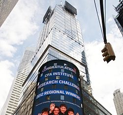 Winnie and the winning team had their name in lights - in the heart of New York!