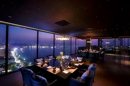 One of the three private dining rooms overlooking Pattaya bay.