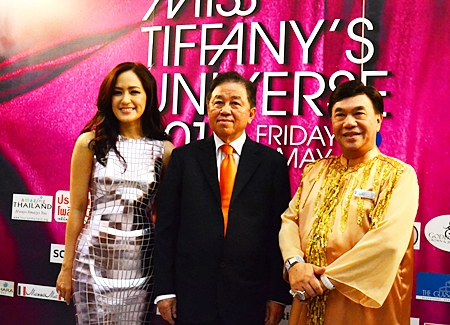 (L to R) Miss Alisa Phanthusak, Asst. MD of Tiffany Show Co. Ltd.; Sutham Phanthusak, MD of Tiffany Show Co. Ltd.; Prof. Dr. Seri Wongmontha, consultant of the contest and president of judging committee pose for the paparazzi.