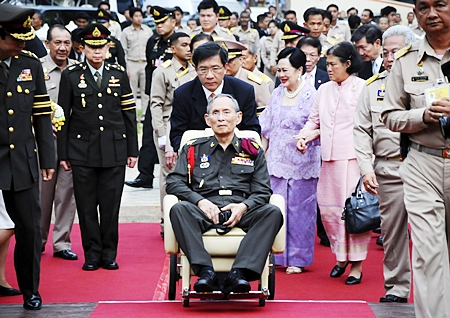 His Majesty King Bhumibol Adulyadej the Great arrives in Ayutthaya province, Friday, May 25. Thousands upon thousands of Thais turned out in the historic capital Ayutthaya to show their devotion to the King on his first trip outside Bangkok in almost three years. (AP Photo/Courtesy of the Royal Household)