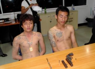 Somram Onnimm and Pichit Kraboktho have been arrested for drunkenly shooting off their weapons during Songkran celebrations.
